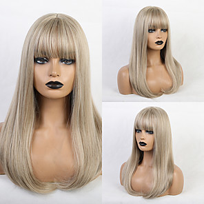 cheap Synthetic Lace Wigs-Synthetic Wig Bangs Straight Natural Straight Side Part Neat Bang With Bangs Wig Blonde Long Light golden Synthetic Hair 20 inch Women's Cosplay Classic Women Blonde HAIR CUBE