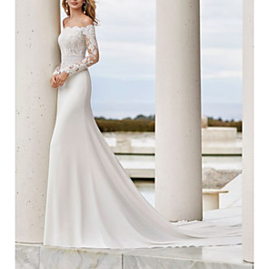 cheap Party Sashes-Mermaid / Trumpet Wedding Dresses Off Shoulder Court Train Lace Satin Long Sleeve Country See-Through Illusion Sleeve with Buttons Lace Insert 2020