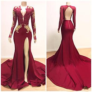 cheap Evening Dresses-Mermaid / Trumpet Elegant Formal Evening Dress Scalloped Neckline Long Sleeve Court Train Satin with Appliques Split Front 2020
