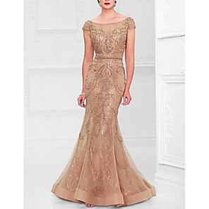 cheap Evening Dresses-Mermaid / Trumpet Elegant Formal Evening Dress Scoop Neck Short Sleeve Sweep / Brush Train Lace Tulle with Beading Lace Insert 2020