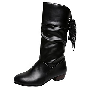 cheap Women's Boots-Women's Boots Low Heel Round Toe PU Mid-Calf Boots Fall Black / White / Red