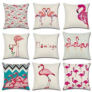 cheap Pillow Covers-9 pcs Linen Pillow Cover, Flamingo Animal Cartoon Fashion Throw Pillow