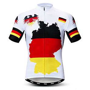 cheap Cycling Jerseys-21Grams Germany National Flag Men's Short Sleeve Cycling Jersey - Red / Yellow Bike Jersey Top Breathable Moisture Wicking Quick Dry Sports Polyester Elastane Terylene Mountain Bike MTB Road Bike