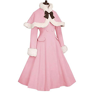 cheap Lolita Dresses-Princess Sweet Lolita Fur Trim Girly Winter Cape Coat Women's Girls' Japanese Cosplay Costumes Black / Red / Blue Solid Colored Long Sleeve Knee Length / Cloak / Cloak