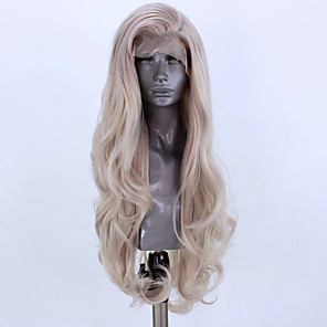 cheap Women's Boots-Synthetic Lace Front Wig Wavy Side Part Lace Front Wig Blonde Long Light Blonde Synthetic Hair 18-26 inch Women's Adjustable Heat Resistant Party Blonde