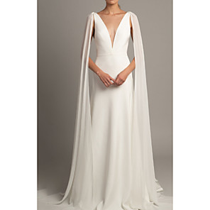 cheap Wedding Wraps-A-Line Wedding Dresses V Neck Court Train Tulle Stretch Satin Regular Straps Cape with Ruched 2020
