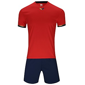 cheap Soccer Jerseys, Shirts & Shorts-Men's Soccer Jersey and Shorts Clothing Suit Breathable Quick Dry Soft Team Sports Active Training Football Cotton Adults Teen White Ruby Yellow / Micro-elastic