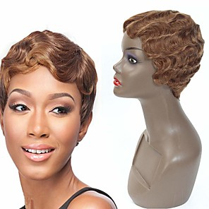 cheap Human Hair Capless Wigs-Human Hair Wig Short Wavy Pixie Cut Auburn New Design New Arrival Hot Sale Capless Indian Hair Vietnamese Hair Women's Medium Auburn 6 inch