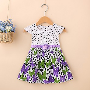 cheap Kids Collection Under $8.99-Baby Girls' Basic Floral Short Sleeve Dress Purple
