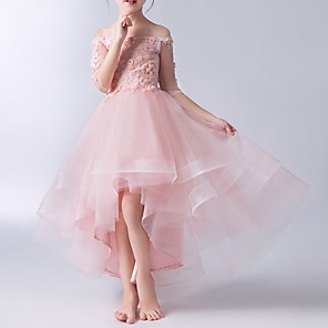 cheap Wedding Wraps-A-Line Asymmetrical Pageant Flower Girl Dresses - Tulle Half Sleeve Off Shoulder with Beading / Appliques