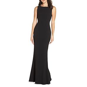 cheap Evening Dresses-Sheath / Column Beautiful Back Black Wedding Guest Formal Evening Dress Jewel Neck Sleeveless Floor Length Jersey with Pleats 2020