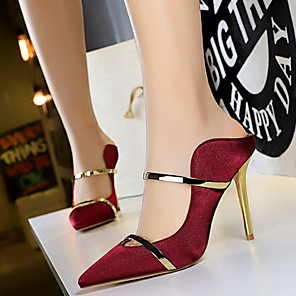 cheap Women's Heels-Women's Heels Stiletto Heel Pointed Toe Satin Business / Sweet Spring &  Fall / Spring & Summer Black / Gold / Yellow / Party & Evening