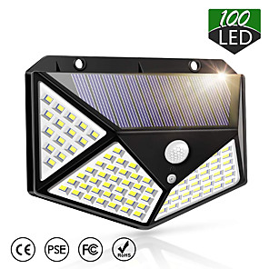 cheap Outdoor Wall Lights-ZDM® 1pc 6 W Solar Wall Light Waterproof / Solar / Motion Detection Monitor Cold White 1.5 V Outdoor Lighting / Courtyard / Garden 100 LED Beads