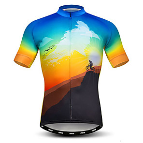 cheap Cycling Jerseys-21Grams Men's Short Sleeve Cycling Jersey Polyester Elastane Lycra Blue+Yellow Novelty Bike Jersey Top Mountain Bike MTB Road Bike Cycling Breathable Quick Dry Moisture Wicking Sports Clothing Apparel