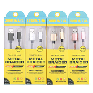 cheap Cell Phone Cables-Type-C Cable 0.2m(0.65Ft) Quick Charge Stainless steel USB Cable Adapter For Samsung / Huawei / Xiaomi