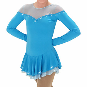 cheap Ice Skating Dresses , Pants & Jackets-Figure Skating Dress Women's Girls' Ice Skating Dress Fuchsia Blue Patchwork Spandex High Elasticity Training Competition Skating Wear Patchwork Crystal / Rhinestone Long Sleeve Ice Skating Figure