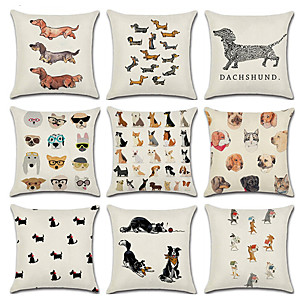 cheap Sale-9 pcs Linen Pillow Cover, Dog Animal Cartoon Fashion Throw Pillow