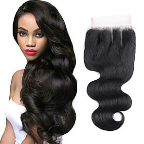 cheap 3 Bundles with Closure-Brazilian Hair / Vietnamese Hair 4x4 Closure Wavy 3 Part Swiss Lace Virgin Human Hair / Remy Human Hair Women's Dailywear