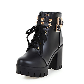 cheap Women's Boots-Women's Boots Chunky Heel Round Toe PU Booties / Ankle Boots Casual / British Fall & Winter Black / White