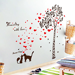 cheap Wall Stickers-SK9208 Under the tree couple cat red love bedroom living room hallway background wall removable