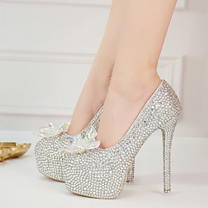 cheap Women's Heels-Women's Heels Stiletto Heel Round Toe Rhinestone / Crystal / Sparkling Glitter PU Vintage / Minimalism Fall & Winter Silver / Wedding / Party & Evening