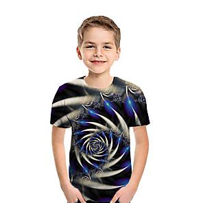 cheap Women's Boots-Kids Boys' Active Street chic Geometric 3D Patchwork Print Short Sleeve Tee Rainbow