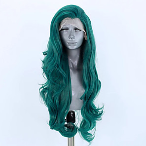 cheap Synthetic Lace Wigs-Synthetic Lace Front Wig Wavy Side Part Lace Front Wig Long Green Synthetic Hair 18-26 inch Women's Adjustable Heat Resistant Party Green