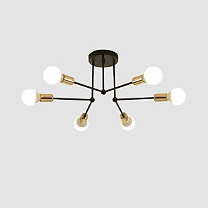 cheap Ceiling Lights-feimiao 6-Light 60 cm Flush Mount Lights Metal Linear Electroplated Painted Finishes Modern Nordic Style 110-120V 220-240V E26 E27