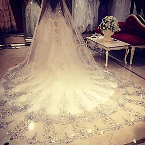 cheap Wedding Veils-One-tier Rhinestone / Lace Wedding Veil Cathedral Veils with Sparkling Glitter / Paillette 137.8 in (350cm) POLY / Angel cut / Waterfall