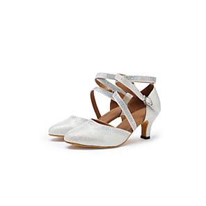 cheap Ballroom Shoes & Modern Dance Shoes-Women's Modern Shoes / Ballroom Shoes Lace Cross Strap Heel Tassel Cuban Heel Customizable Dance Shoes Gold / Silver / Performance