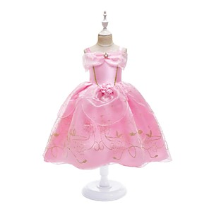 cheap Movie & TV Theme Costumes-Princess Dress Masquerade Flower Girl Dress Girls' Movie Cosplay A-Line Slip Cosplay Halloween Pink Dress Halloween Carnival Masquerade Tulle Polyster