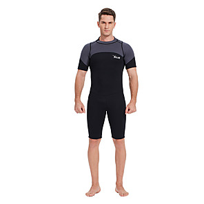 cheap Wetsuits, Diving Suits & Rash Guard Shirts-YON SUB Men's Shorty Wetsuit 3mm SCR Neoprene Diving Suit Thermal / Warm Waterproof Zipper Short Sleeve Back Zip - Diving Water Sports Patchwork Autumn / Fall Spring Summer / Micro-elastic