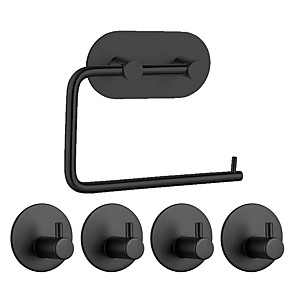 cheap Bathroom Accessory Set-Adhesive Hooks Bathroom Accessories Set Towel Hook Tissue Holder High-strength Nail-free Sticker Matte Black Brushed Finished Towel Holder Rack 4pcs Robe Hook 1 Paper Holder Removable