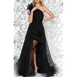 cheap Evening Dresses-A-Line Open Back Prom Formal Evening Dress One Shoulder Sleeveless Sweep / Brush Train Lace Sequined with Appliques Split Front 2020
