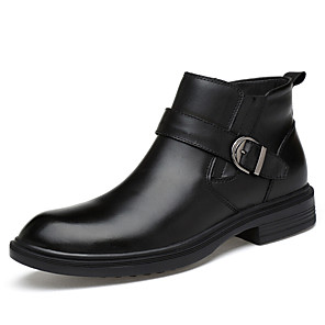 cheap Men's Boots-Men's Leather Shoes Leather / Cowhide Spring & Summer / Fall & Winter Business / Casual Boots Breathable Booties / Ankle Boots Black
