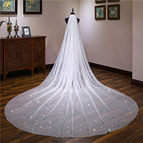 cheap Wedding Veils-One-tier Classic Style / Lace Wedding Veil Cathedral Veils with Solid / Pattern 157.48 in (400cm) POLY / Lace