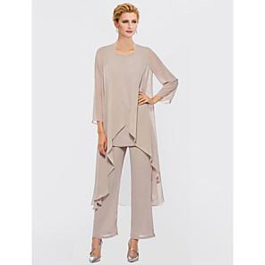cheap Latin Dancewear-Pantsuit / Jumpsuit Mother of the Bride Dress Elegant Plus Size Bateau Neck Floor Length Chiffon Sleeveless with Sash / Ribbon Appliques 2020 Mother of the groom dresses