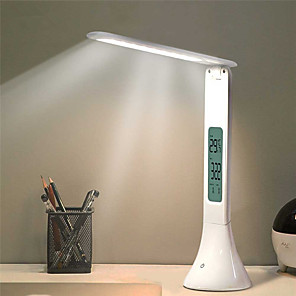 cheap Stands & Cooling Pads-LED Desk Lamp Foldable Dimmable Touch Table Lamp with Calendar Temperature Alarm Clock table Light night lights