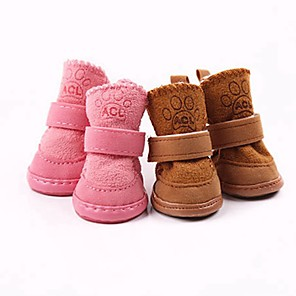 cheap Dog Clothes-Dog Cat Boots / Shoes Snow Boots Solid Colored Casual / Daily Simple Style Winter Dog Clothes Pink Coffee Costume Cotton XS S M L XL