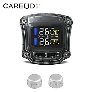 cheap Vehicle Tire Gauges-Motorcycle TPMS Tire Pressure Monitoring System 2 External Sensor Wireless LCD Display Moto Auto Tyre Alarm Systems Black