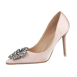cheap Wedding Shoes-Women's Heels Stiletto Heel Pointed Toe Rhinestone Satin Sweet / Minimalism Spring &  Fall / Spring & Summer Black / Dark Grey / Almond / Party & Evening