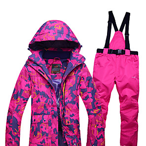 cheap Flashlights & Camping Lanterns-ARCTIC QUEEN Women's Ski Jacket with Pants Skiing Camping / Hiking Winter Sports Waterproof Windproof Warm Polyester Jacket Pants / Trousers Clothing Suit Ski Wear