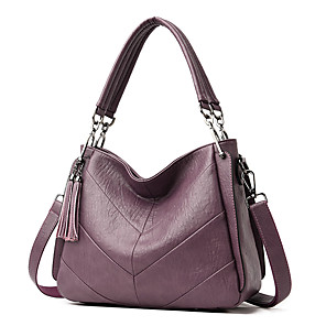 cheap Handbag & Totes-Women's Bags PU Leather Top Handle Bag Tassel for Daily / Office & Career Wine / Black / Blue / Fall & Winter