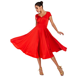 cheap Ballroom Dancewear-Ballroom Dance Dress Pleats Women's Performance Daily Wear Sleeveless Natural Milk Fiber