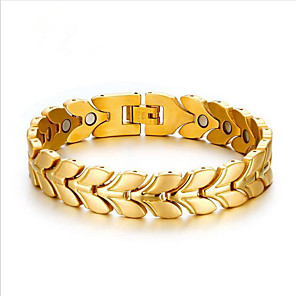 cheap Engraved Bracelets-Men's Chain Bracelet Geometrical Floral Theme Fashion Steel Bracelet Jewelry Gold / Silver For Daily Work