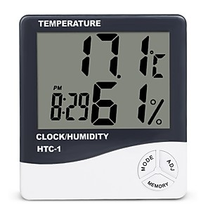 cheap Testers & Detectors-Indoor Room LCD Electronic Temperature Humidity Meter Digital Thermometer Hygrometer Weather Station Alarm Clock HTC-1