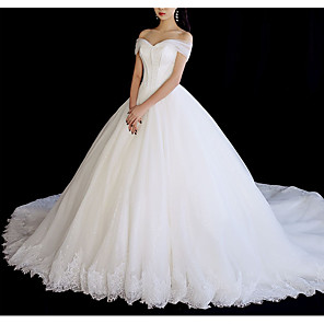 cheap Latin Dancewear-A-Line Wedding Dresses Off Shoulder Chapel Train Tulle Short Sleeve with Lace Insert 2020