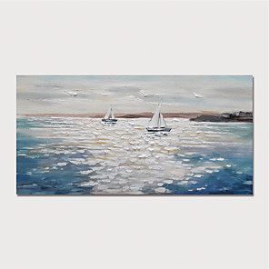 cheap Framed Arts-Oil Painting Hand Painted - Abstract Landscape Modern Stretched Canvas
