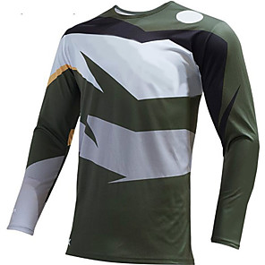 cheap Cycling Jerseys-21Grams Men's Long Sleeve Cycling Jersey Downhill Jersey Dirt Bike Jersey Winter Gray+White Patchwork Bike Jersey Top Mountain Bike MTB Road Bike Cycling Thermal / Warm UV Resistant Breathable Sports