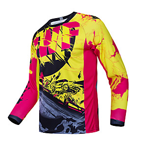 cheap Cycling Jerseys-CAWANFLY Men's Long Sleeve Cycling Jersey Downhill Jersey Dirt Bike Jersey Winter Fleece Polyester Red / Yellow Bike Jersey Top Mountain Bike MTB Thermal / Warm Breathable Quick Dry Sports Clothing